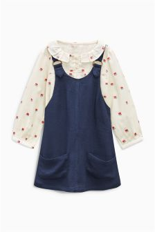 Floral Print Shirt And Navy Pinafore Set (3mths-6yrs)