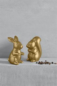 Gold Effect Rabbit Salt And Pepper Set
