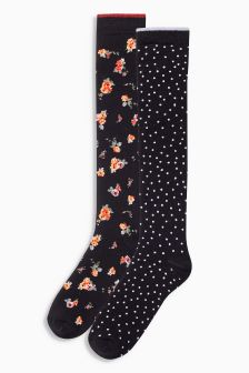 Floral Spot Welly Socks Two Pack