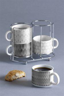 Set Of 4 Berkeley Espresso Stacking Mugs