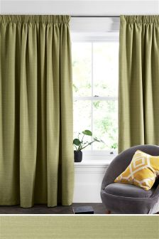 Textured Slub Studio* Pencil Pleat Lined Curtains