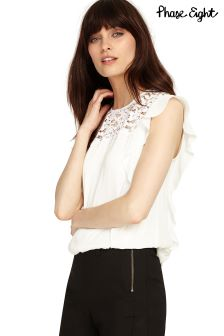 Phase Eight Ivory Lucie Lace Ruffle Blouse