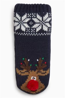 Reindeer Slipper Socks (Younger Boys)