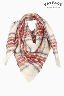 Fat Face Ivory Grace Bouclé Check Scarf