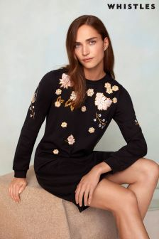 Whistles Black Embroidered Sweat Dress