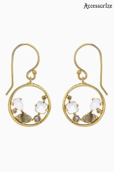 Accessorize Gold Adeline Semi Precious Hoop Earrings