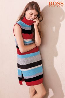 Boss Orange Red Multi Stripe Dress