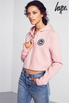Hype Pink Crop Full Zip Hoody