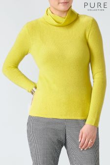 Pure Collection Yellow Gassato Cashmere Poloneck Sweater