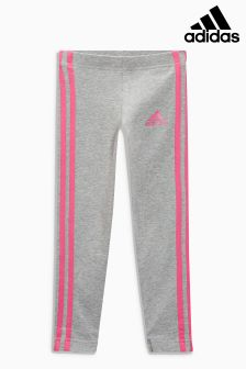 adidas Little Kids Grey/Pink 3 Stripe Legging