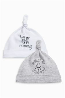 Mummy And Daddy Slogan Tie Top Hats Two Pack (0-12mths)