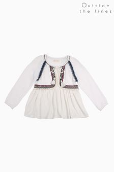 Outside The Lines White Trimmed Smock Top