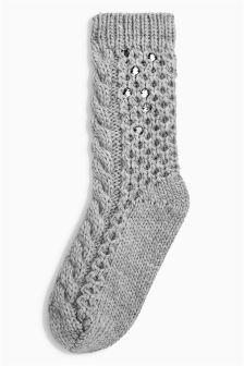 Embellished Cable Knit Bed Socks