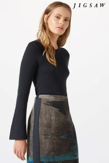 Jigsaw Grey Flare Sleeve Rib Jumper
