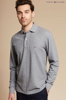 Tommy Hilfiger Grey Performance Long Sleeve Polo Top