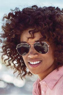 Mirrored Aviator Style Sunglasses