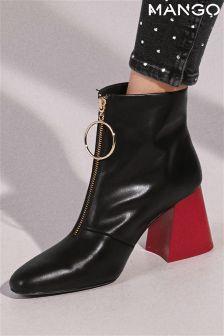 Mango Black Zip Front Boot