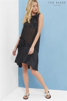 Ted Baker Black Langley Applique Flower Floorel Cover Up