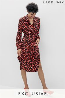 Mix/Osman Print Silk Shirt Dress