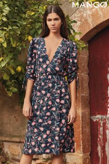Mango Navy Ditsy Floral Dress