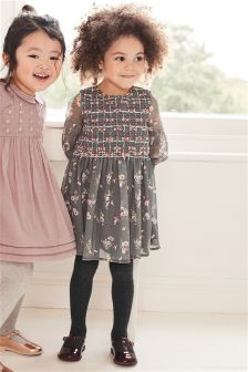 Ditsy Print Long Sleeve Dress (3mths-6yrs)