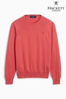 Hackett Coral/Pink Pima Cotton Crew Neck Jumper