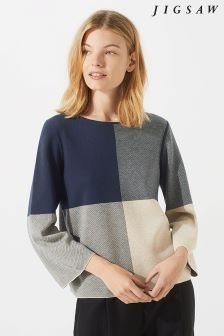 Jigsaw Blue Gingham Boxy Jumper