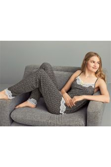 Ditsy Lace Trim Pyjamas