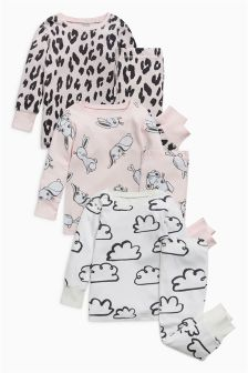 Printed Snuggle Pyjamas Three Pack (9mths-8yrs)
