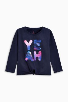 Slogan Long Sleeved Tie Front Top (3-16yrs)