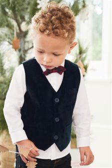 Velvet Waistcoat, Shirt And Bow Tie Set (3mths-6yrs)
