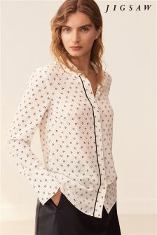 Jigsaw Cream Nordic Crest Silk Shirt