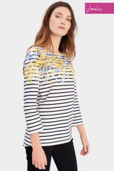 Joules Navy Floral Border Jersey Top