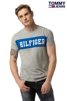 Tommy Hilfiger Denim Grey Basic Branded T-Shirt