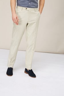 Plain Linen Blend Suit: Trousers