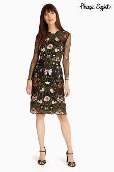 Phase Eight Black Miriam Embroidered Dress