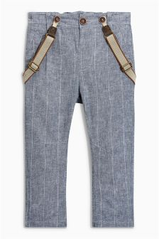 Linen Blend Trousers With Braces (3mths-6yrs)