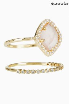 Accessorize Pink Leona Semi Precious Rings Two Pack