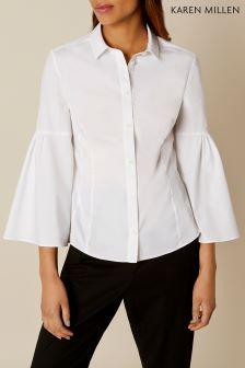 Karen Millen White Bell Sleeve Shirt