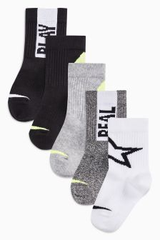 Sports Slogan Socks Five Pack (Younger Boys)