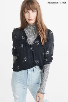 Abercrombie & Fitch Navy Floral Print Ruffle Blouse