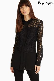 Phase Eight Black Livia Lace Blouse