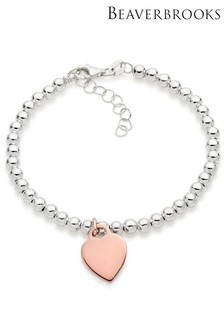 Beaverbrooks Silver And Rose Gold Plated Heart Ball Bracelet