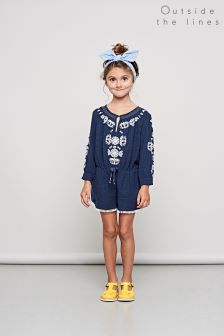 Outside The Lines Navy Embroidered Playsuit