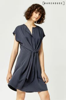 Warehouse Navy Tie Front Casual Shirt Dress