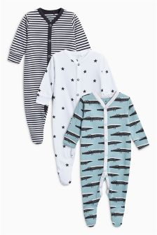 Crocodile Sleepsuits Three Pack (0mths-2yrs)