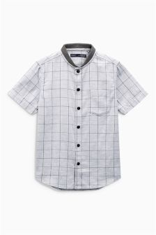 Short Sleeve Check Baseball Neck Shirt (3-16yrs)