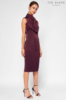 Ted Baker Maroon Eyet Bow Neck Dress