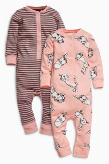 Bunny/Stripe Sleepsuits Two Pack (9mths-8yrs)