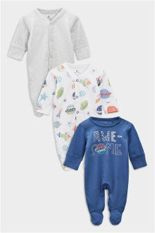 Space Sleepsuits Three Pack (0mths-2yrs)